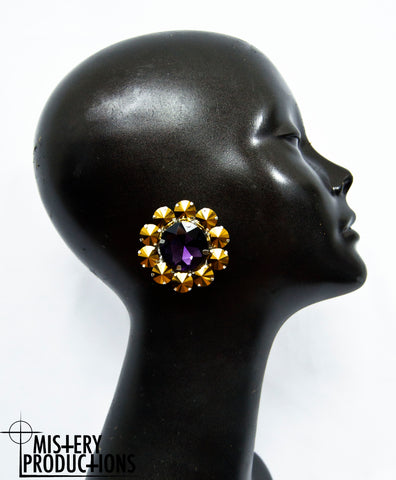 Mirror Gold / Amethyst Round Earrings
