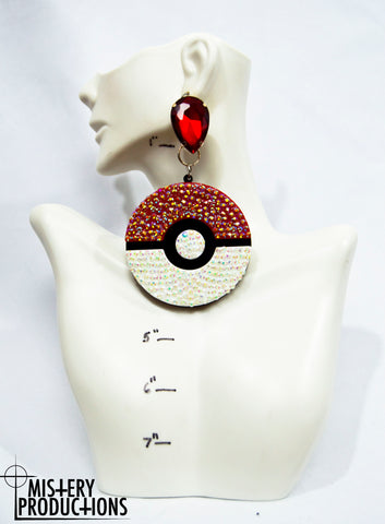 Fully Stoned Pokeball Earrings