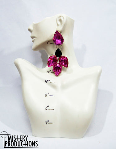 Fuscia and Black Earrings
