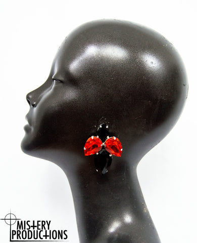 Black / Siam Earrings