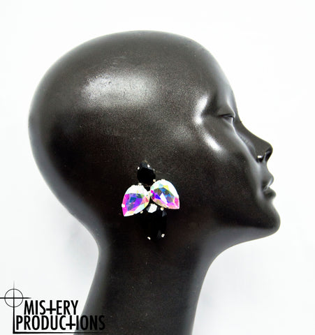 Black / AB Earrings