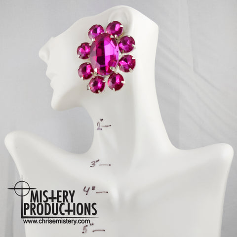 Fuschia Button Earrings