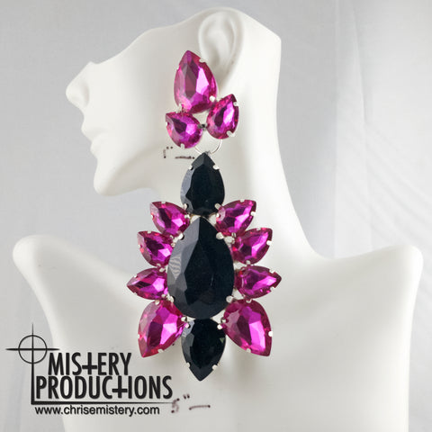 Fuschia / Jet Dangle Earrings
