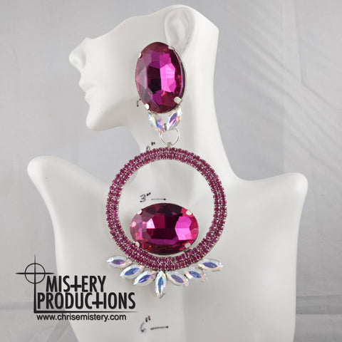 Fuschia Large Negative Space Hoop Earrings