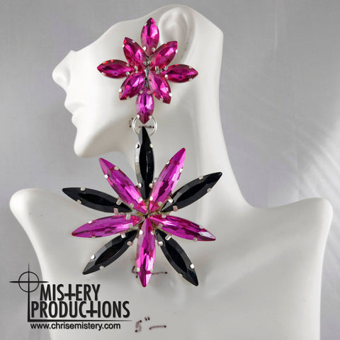 Fuchsia / Jet Starburst Earrings