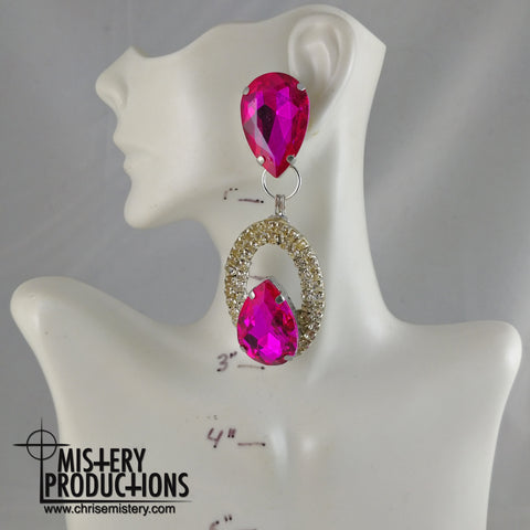 Fuchsia / Crystal Negative Dangle Earrings