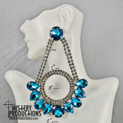 Lake Blue / Crystal Swing Earrings
