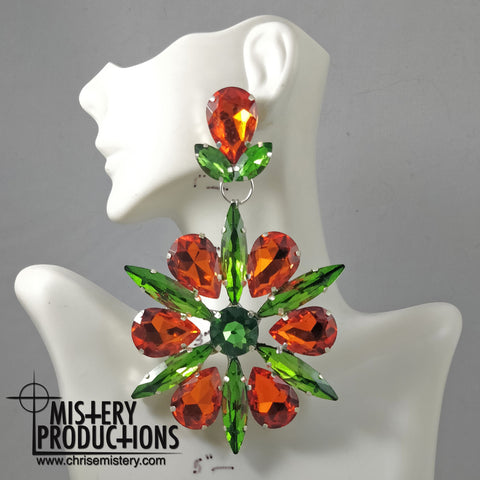Orange / Emerald Dangle Earrings