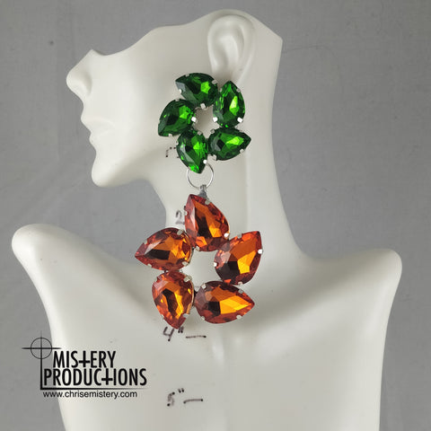 Orange / Emerald Cyclone Dangle Earrings