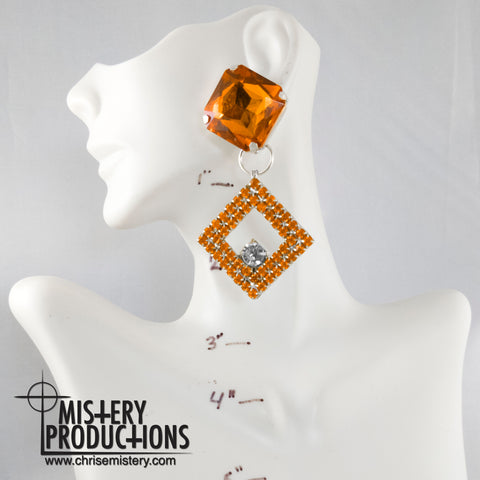Orange / Crystal Negative Earrings