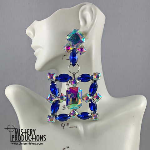 Sapphire / AB Square Dangle Earrings