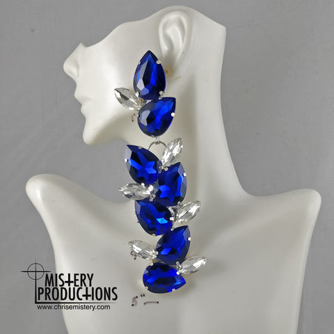 Sapphire / Crystal Vine Dangle Earrings