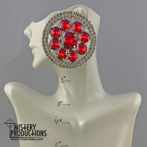 Siam / Crystal Button Earrings