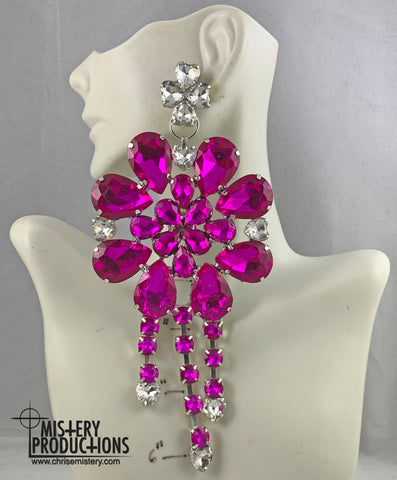 Fuchsia / Crystal Plate Dangle Earrings
