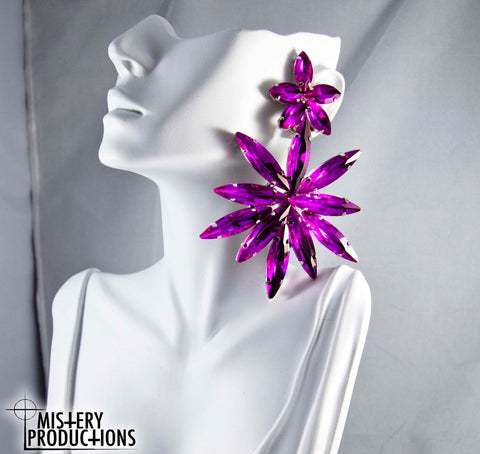 Fuscia Star Earrings