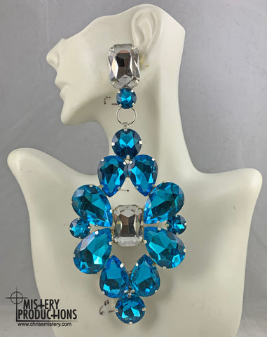 Lake Blue / Crystal Doorknocker Earrings