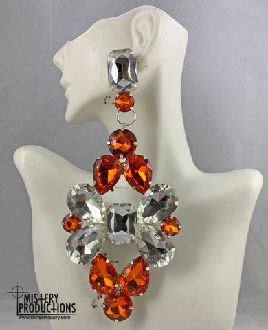 Orange / Crystal Doorknocker Earrings
