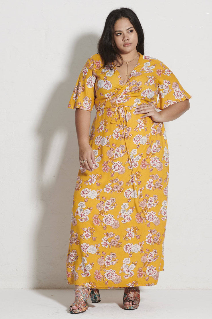 Hadley Maxi Wrap Dress - Yellow Blossom