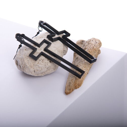 Black Open Cross Earrings