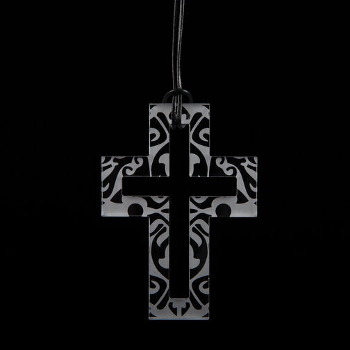Large Clear Etched Cross Necklace