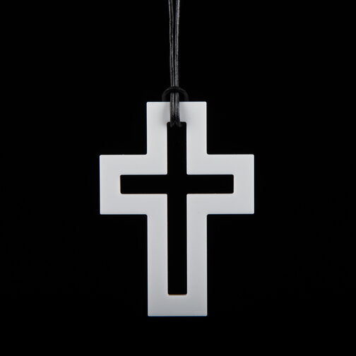 Large White Cross Necklace