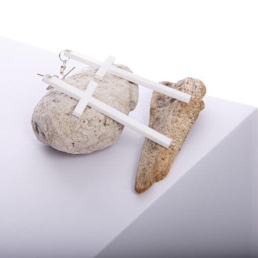 White Solid Cross Earrings