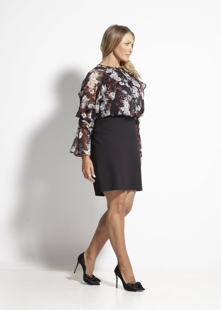 Haven Frill Top - Winter Rose
