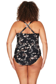 Black Vineyasa Botticelli Tankini Top
