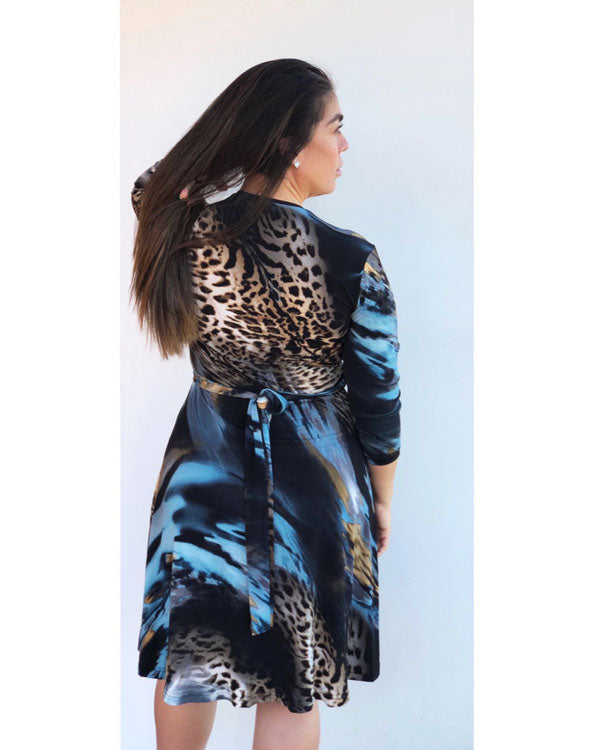 Taylor Wrap Dress - Cosmic Leopard
