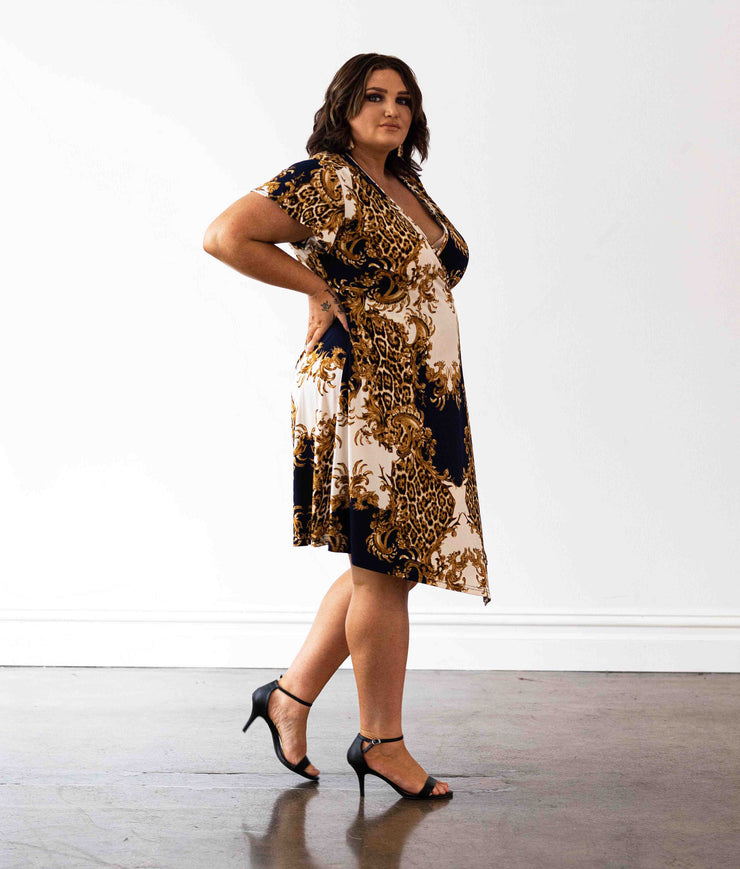 Hollywood Wrap Dress - Baroque Print