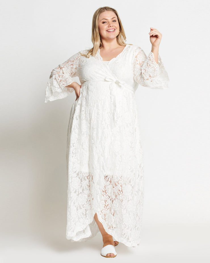 Ivory Lace Long Wrap Dress
