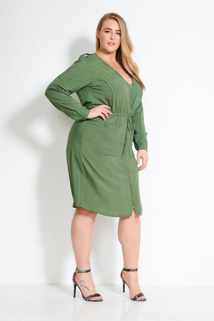 Zip Front Utility Dress-Khaki