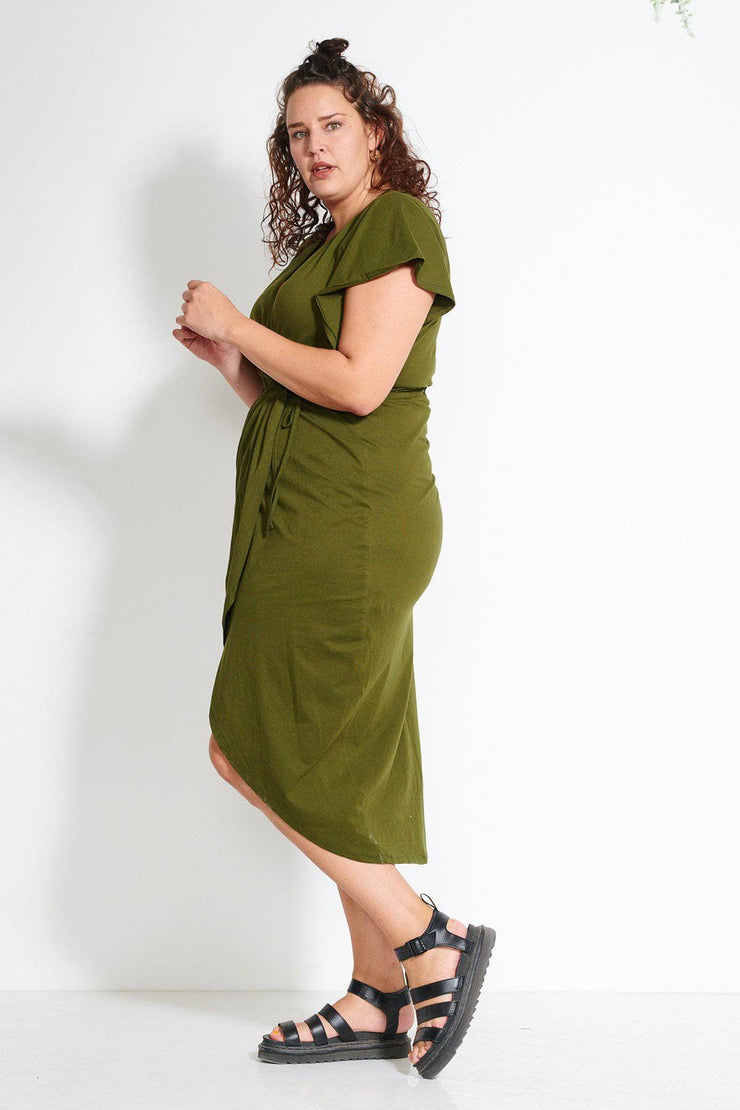 Tulip Wrap Dress - Olive Green