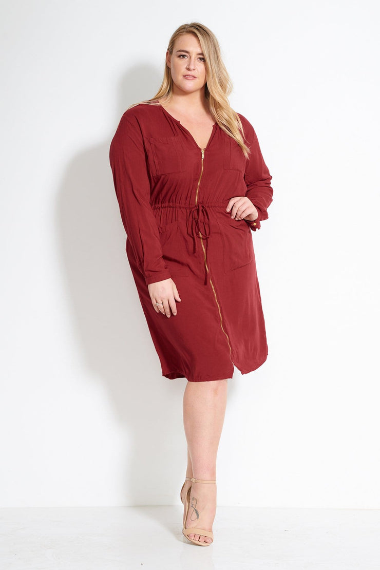 Zip Front Utility Dress-Rouge
