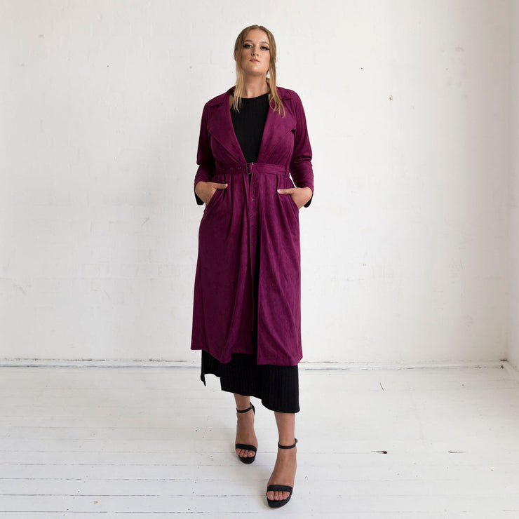 Viola Suede Coat - Rich Plum