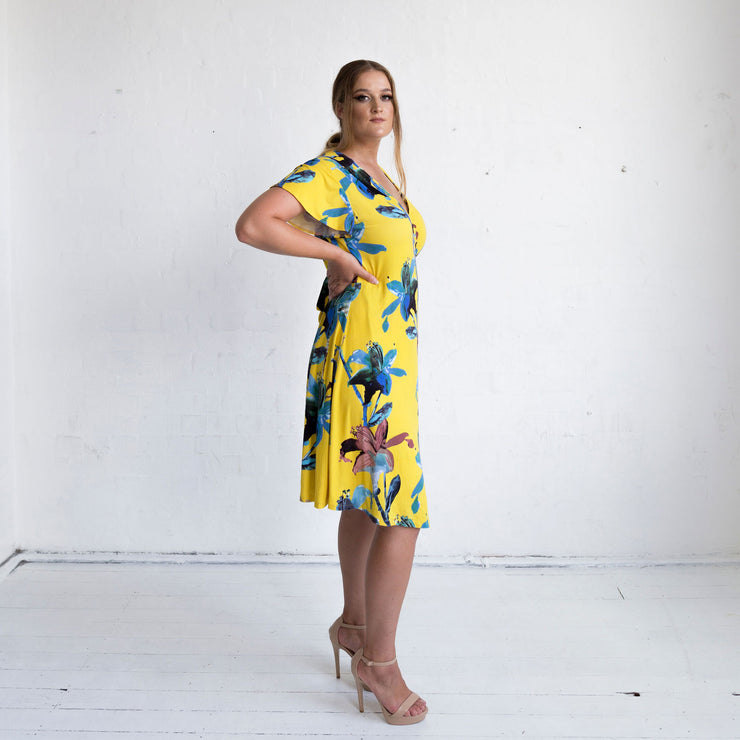 Wrap Dress - Yellow Floral Print