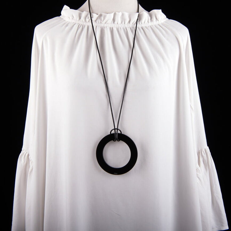 Large Black Circle Necklace