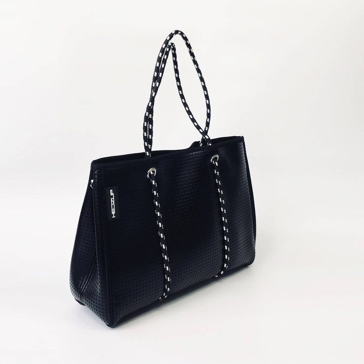 Black Metallic Neoprene Tote Bag with Black and White Ropes