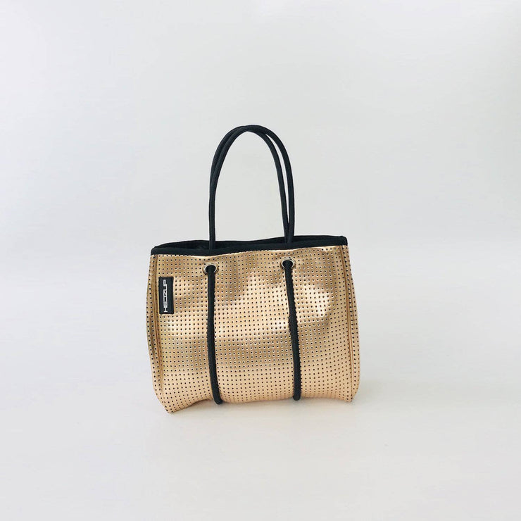 Rose Gold Metallic SMALL Neoprene Tote Bag with Black Ropes