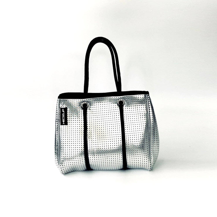 Silver Metallic SMALL Neoprene Tote Bag with Black Ropes