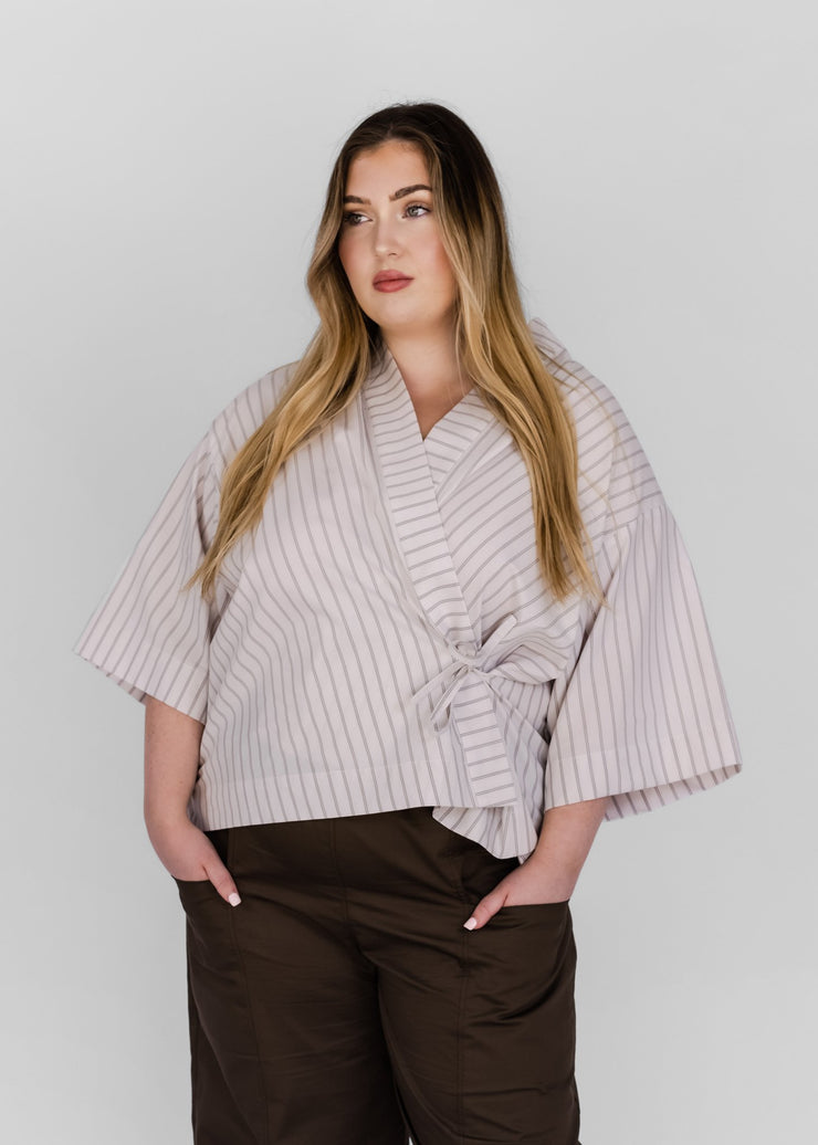Wrap Shirt | Brown/Blue Stripe
