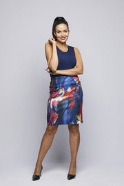 Printed Knit Skirt - Abstract