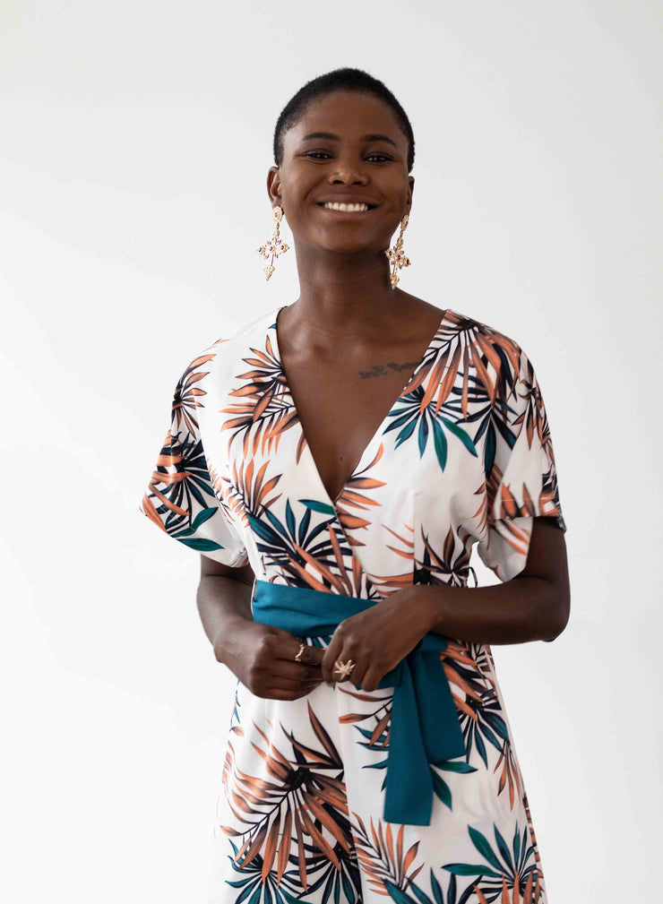 Havana Playsuit - Palm Leaf Print