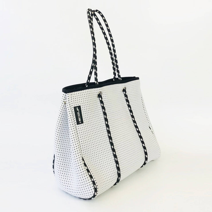 Classic White Neoprene Tote Bag with Black & White Straps