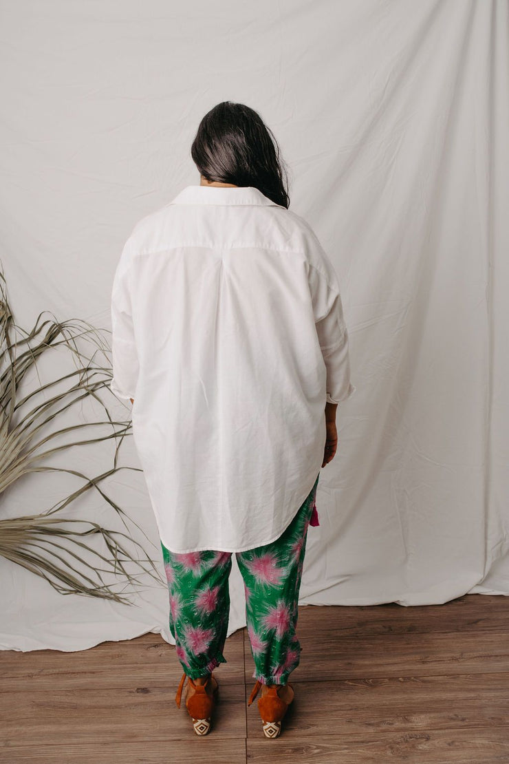 Adelina White linen cotton collared shirt.