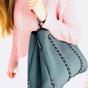Classic Dark Grey Neoprene Tote Bag with Black & White Straps