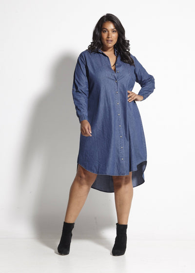 Rosario Vintage Wash Dress - Blue Denim