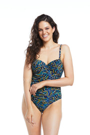 Grid Iris Balconette One Piece