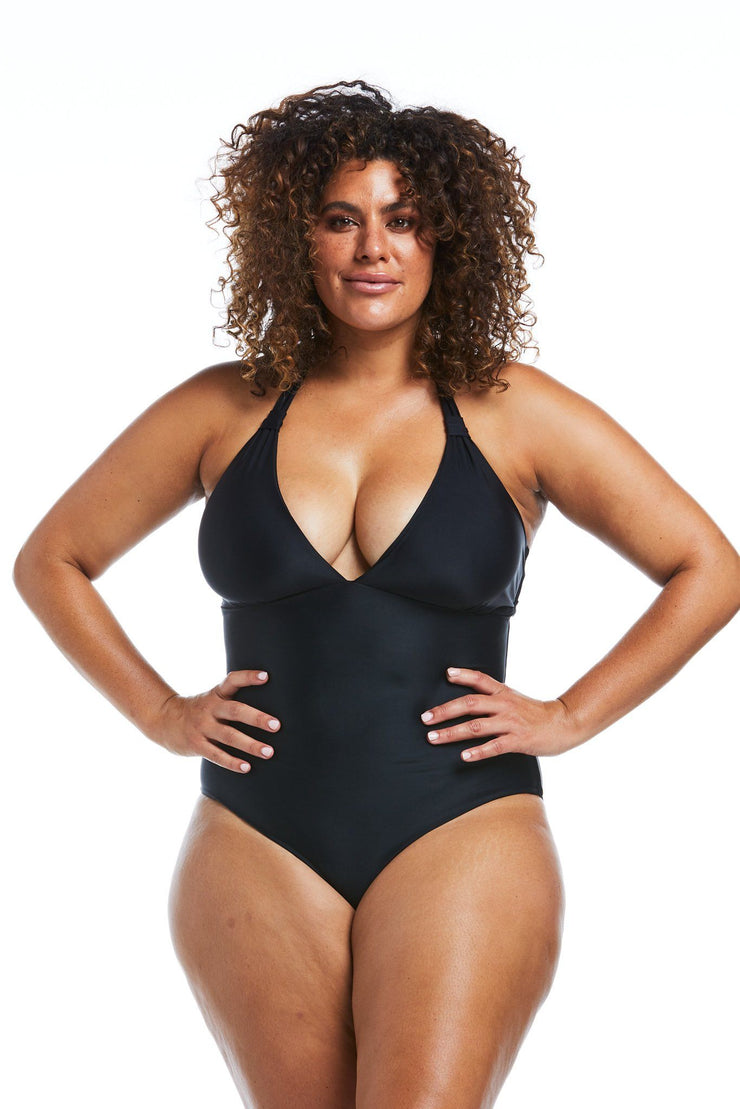 Black Halter Tri One Piece