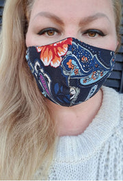 Face Mask - Paisley Rose- Custom Printed- Hand Made